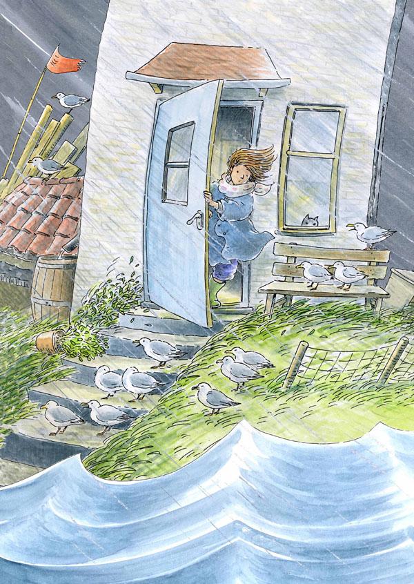 Souwtje in de storm Illustratie Monica Maas