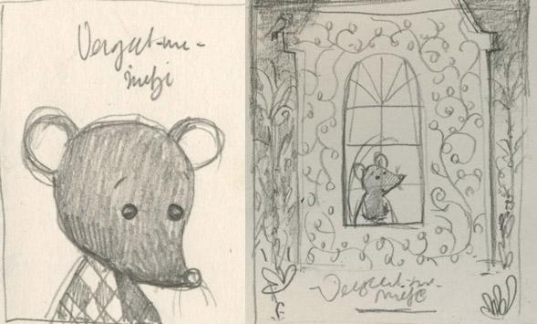 schetsen voor Vergeet me nietje van Milja Praagman