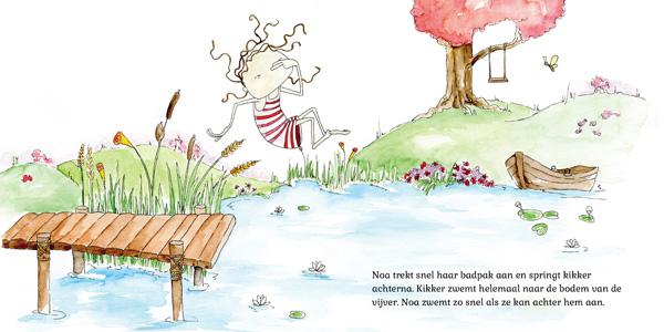 Illustratie uit Noa Tovervijver (Hanneke van der Meer). Potlood, inkt en waterverf