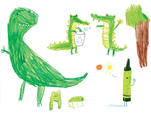 """Illustratie uit """"de krijtjes staken"""", Oliver Jeffers"""