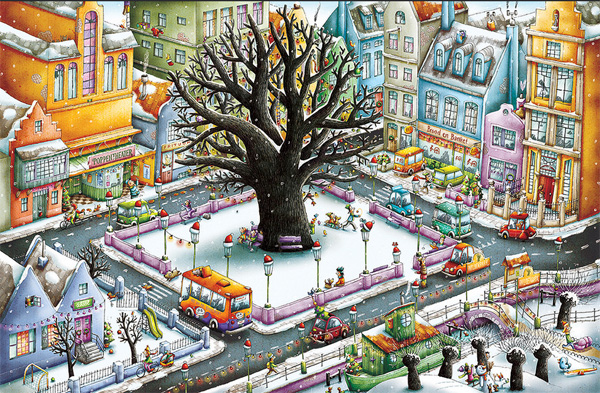 """Illustratie uit """"Het Pleintje, Winterwarmte"""""""