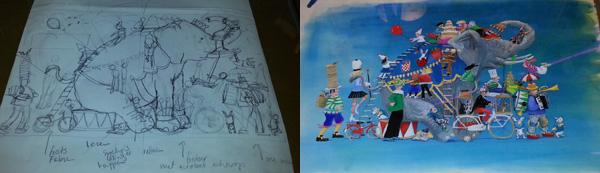 Van schets naar definitieve illustratie uit Fabians Feest; Marit Törnqvist, CPNB