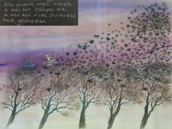 """gebruik stempeltechniek; Illustratie uit """"Groter dan een droom"""",  Marit Törnqvist, Querido, 2013"""
