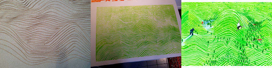 Illustratie technieken: Gebruik van een linoleumsnede in een prentenboek door Marije Tolman