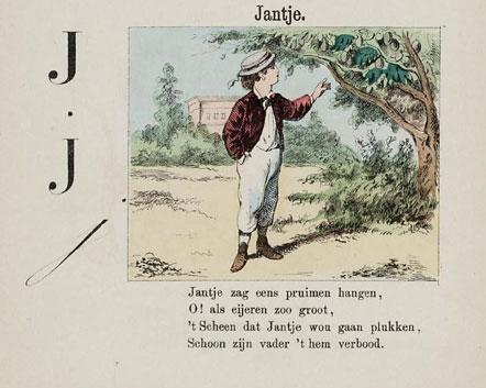 """Pagina uit """"De Pruimenboom"""" van Hiëronymus van Alphen"""