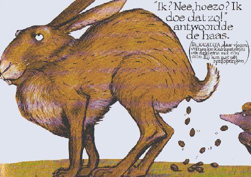 """Illustratie uit """"over een kleine mol...."""", Holzwarth, Erlbruch; Vries-Brouwers 1990."""
