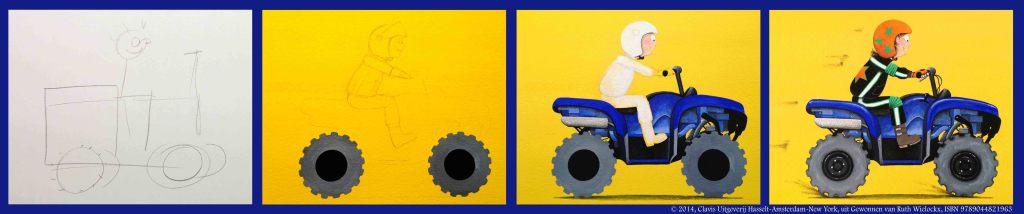 """De evolutie van de quad, uit """"Gewonnen"""", Ruth Wielockx, 2014, Clavis"""