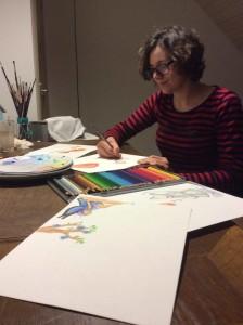 Hanneke aan het werk voor haar nieuwe prentenboek