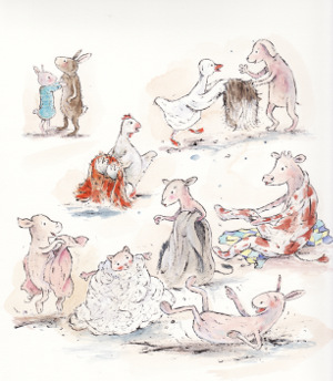 """Illustratie van Sandra Klaassen voor """"Een jasje voor klein konijn"""". auteur Rindert Kromhout, Nederlands Jeugdinstituut, 2015"""