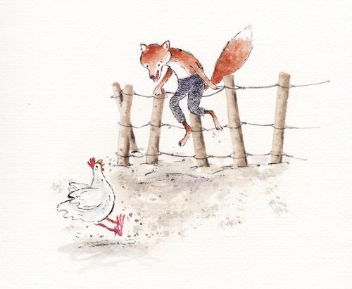 """Illustratie van Sandra Klaassen voor """"Vos doet dom"""