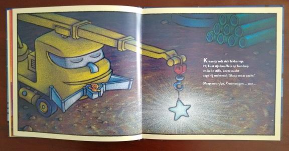 """Pagina uit """"Slaap maar fijn, bouwterrein"""", Sherri Duskey Rinker, Tom Lichtenheld, Uitgeverij Moon, 2016"""