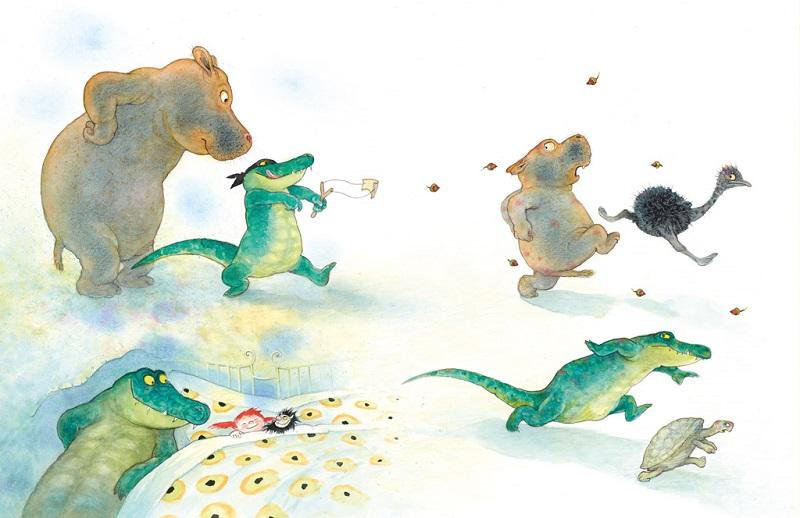 """Illustratie uit """"Er ligt een krokodil onder mijn bed"""" van Ingrid en Dieter Schubert"""