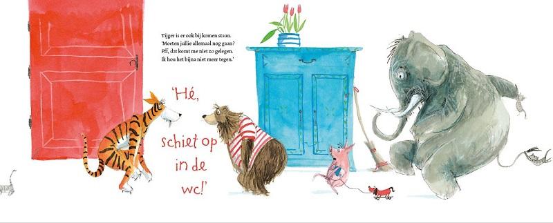 """Spread uit """"Hé wie zit er op de wc? Harmen van Straaten, Leopold, 2015"""