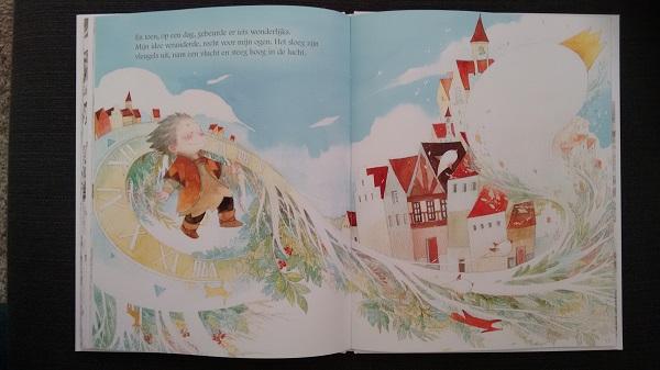 """Pagina uit """"Wat moet je doen met een idee?"""", Auteur: Kobi Yamada Illustrator: Mae Besom, Uitgever Nederland: Aldo Manuzio), 2017"""
