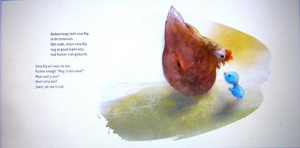 """Spread uit """"Kuiken en de Zee"""", Thea Dubelaar en illustraties Jenny Bakker, 2017 Concerto Kids"""