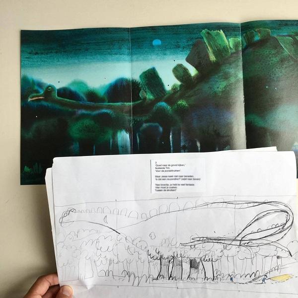 Van schets naar illustratie - Dino's bestaan niet
