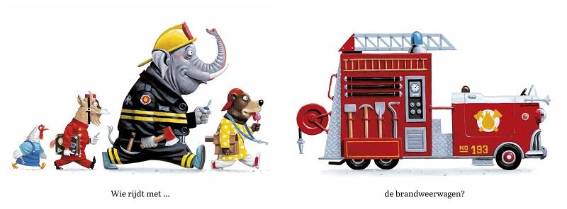 "Illustratie uit ""Wie Rijdt"", Leo Timmers"