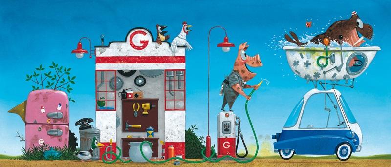 """Illustratie uit """"Garage Gust"""", Leo Timmers, Querido, 2015"""