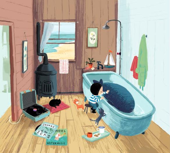 """Illustratie uit """"De kleine walvis"""", Benji Davies, 2014, Luitingh-Sijthoff"""