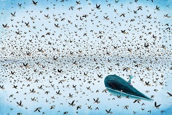 """Illustratie uit """"de jongen en de walvis"""", Linde Faas, 2019, Lemniscaat"""