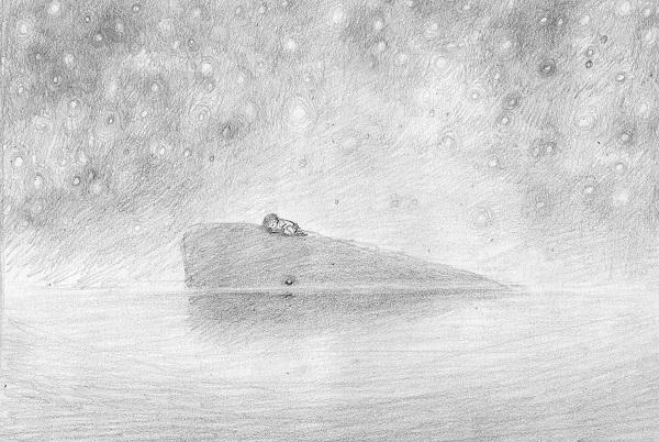 """potloodschets voor """"De jongen en de walvis"""", Linde Faas"""