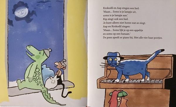 """Spread uit """"Een muts voor de maan"""" Sjoerd Kuyper en illustrator Jan Jutte – Leopold 2003"""