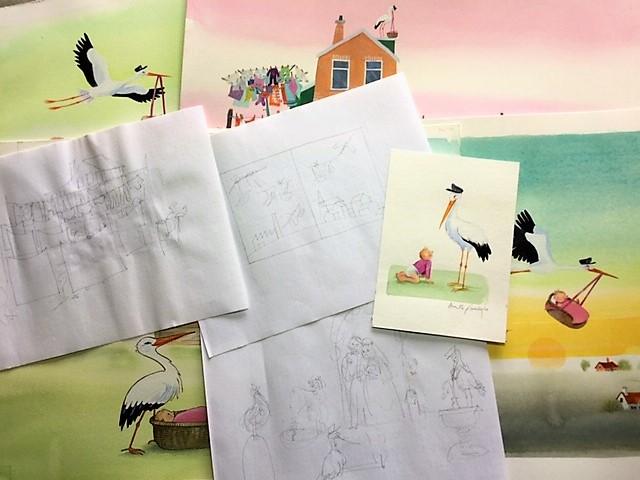 Van schets naar Illustratie, Stork, Annette Fienieg, 2021, Hoogland & van Klaveren